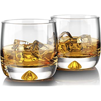 MOFADO Crystal Whiskey Glasses - Trendy/Curved - 11oz (Set of 2) - Hand Blown Crystal - Thick Weighted Bottom Rocks Glasses - Perfect for Scotch, Bourbon, Manhattans, Old Fashioned Cocktails