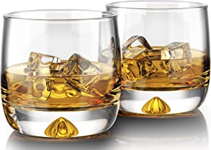 MOFADO Crystal Whiskey Glasses - Trendy/Curved - 11oz (Set of 2) - Hand Blown Crystal - Thick Weighted Bottom Rocks Glasse...