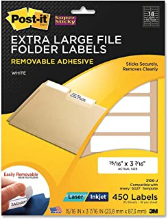 Post-it Super Sticky Removable File Folder Labels, 0.937 x 3.437 Inches, White, 450 per Pack (2100-J)