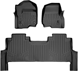 SMARTLINER Custom Floor Mats 2 Row Liner Set Black for 2017-2020 Ford F-250/F-350 Super Duty Crew Cab with 1st Row Bench Seat