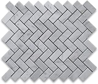 Carrara White Italian Carrera Marble Herringbone Mosaic Tile 1 x 2 Honed