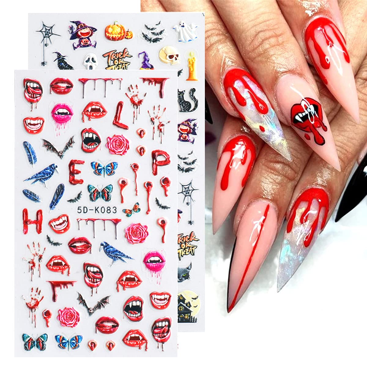 Halloween Nail It is very 4 years warranty popular Art Stickers Decals Embossed Stereoscopic 5D