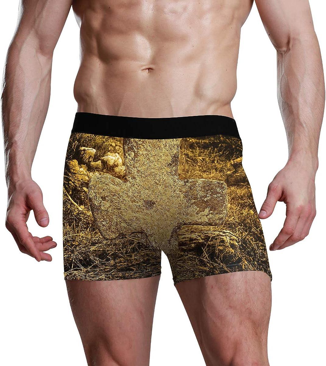 Mens Boxer Briefs Old Stone Cross Low Rise Trunks Underwear Breathable Bikini Boys