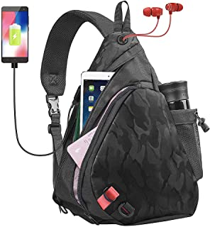 Sling Bag One Strap Backpack Crossbody Bag with USB Port for Men & Women