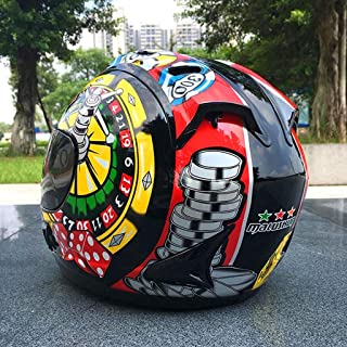 Ycocay Motorcycle Helmet Full Cover Winter Warm Playing Cards Riding Men and Women Racing Motor Car Safety Helmet hj