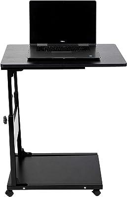 Mind Reader Adjustable Height Laptop Couch End, Side Table, Over Bed Desk with Shelf, Black