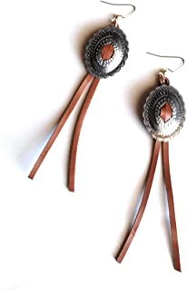 Copper Tone Concho Suede Tassel Long Necklace Earrings Set Cowgirl Western