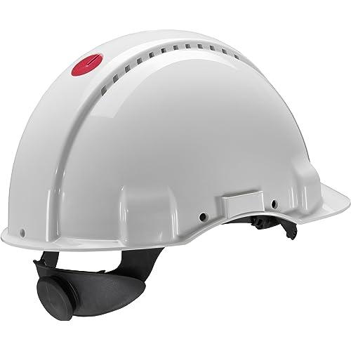 3M G3000 Casco de seguridad blanco con ventilación, arnés de ruleta y banda sudor de