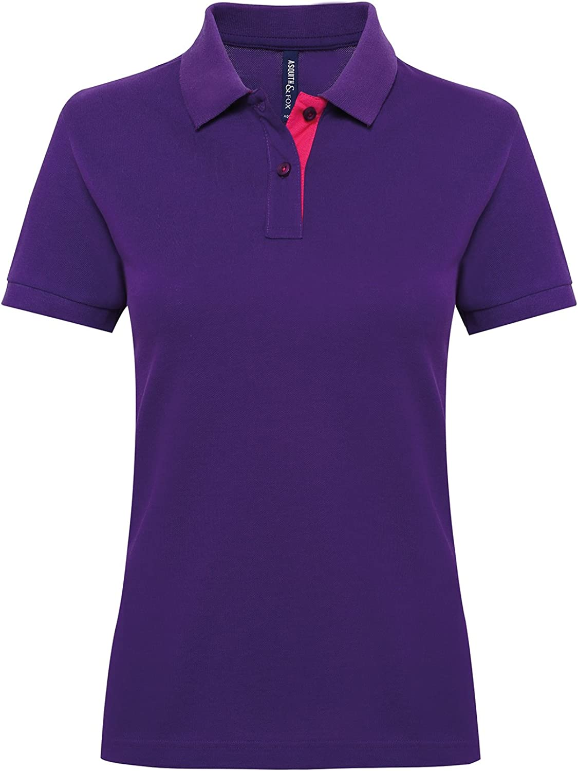 Asquith & Fox Womens Contrast Short Sleeved Polo Shirt - 14 Colours Available