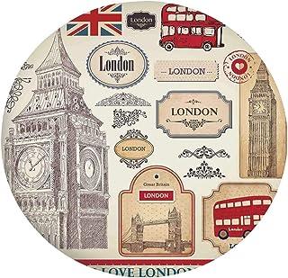 Nappe de table élastique résistante aux taches - Caractéristiques britanniques classiques Big Ben - Tour de bus rouge et p...