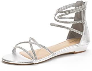 d1a0742e3c1a81 DREAM PAIRS Women s Weitz Ankle Strap Rhinestones Low Wedge Sandals