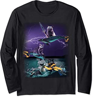 Cats Riding Fire Dolphins Wreaking Sea Havoc Long Sleeve Tee