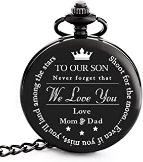 """To My Son   Father, Mother and Son Graduation 2019 Gift - Engraved """"To Our Son Love Mom & Dad"""" Pocket Watch - Perfect Gifts for Son from Mom and Dad for Christmas, Valentines Day, Birthday"""