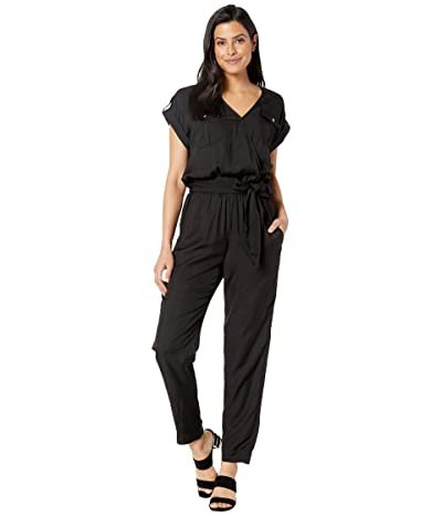 LAUREN Ralph Lauren Roll-Tab-Sleeve Jumpsuit (Polo Black) Women