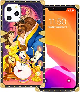 DISNEY COLLECTION iPhone 11 Pro Max Case Square Beauty and The Beast Luxury Cute Design Metal Decoration Full Protective Soft TPU Shockproof Back Cover 6.5 Inch 2019