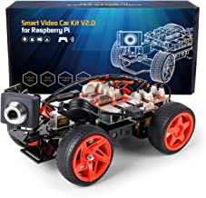 SunFounder Smart Video Car Kit V2.0 Raspberry Pi 4 Model B 3B+ 3B 2B Graphical Visual Programming Language Remote Control by UI on Windows Mac Web Browser Electronic Toy with Detail Manual