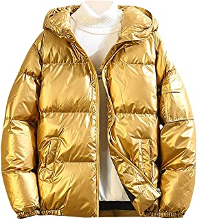 Festiday Men's Hooded Down Coat Lightweight Winter Puffer Parka Solid Color Blouse Outwear Casual Zipper Cotton Quilted We...