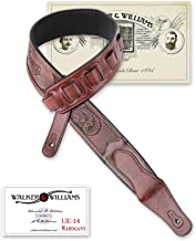 Walker & Williams LIC-14 Mahogany Padded Guitar Strap with Embossed Tooling and Christian Cross