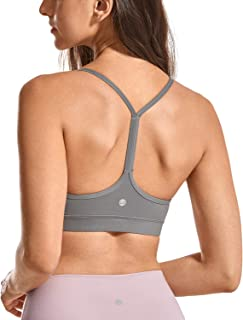 CRZ YOGA Brushed Low Impact Strappy Sports Bra for Women Y Racerback Yoga Bra Tops with Removable Pads