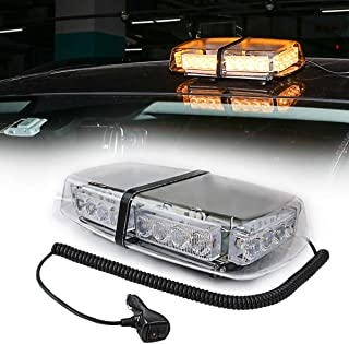 LE-JX Amber Light Roof Top Mini Bar 24 High Intensity LED 12 Volt Magnetic Strobe Amber Light Warning Truck Vehicle Law Enforcement Snow Plow Safety Flashing Emergency LED Beacon Light