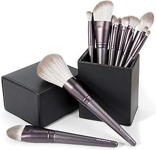 MAANGE Makeup Brushes, 14 Pcs Professional Makeup Brush Set with Holder, Foundation Powder Eyebrow Concealer Kabuki Blush Make up Brushes with Case Set (Black)