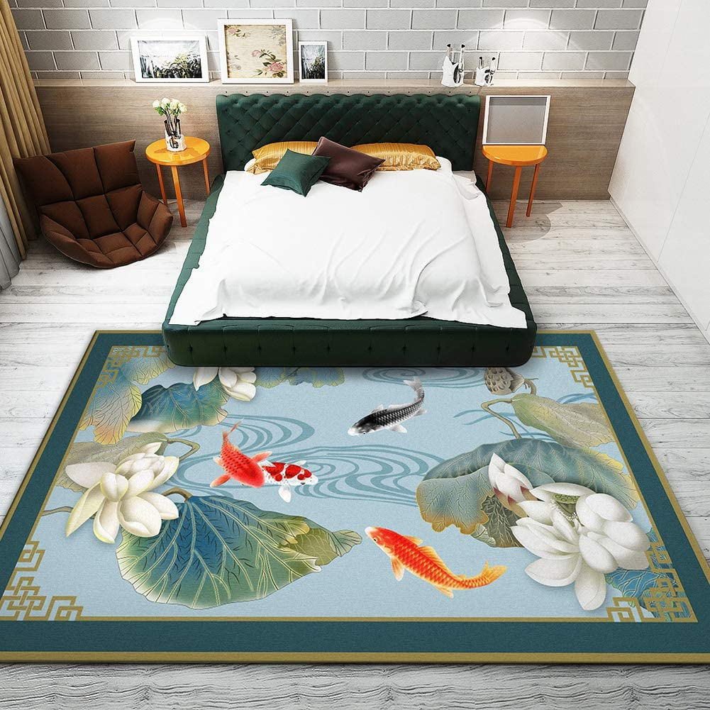 QIAOQ Living Room Carpet Modern Traditional 格安SALEスタート Koi Printing Nonslip 価格交渉OK送料無料