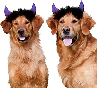 JPB Dog Halloween Costumes,2 Pack Devil Horns Headbands for Dogs