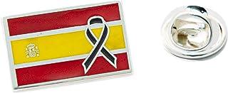 Yo Me Quedé en Casa Spilla in argento   Bandiera della Spagna Crespone Nero Covid   Forma Rettangolare