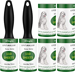 [New 2019] iDogin Pet Hair Roller Lint Remover Extra Sticky Lint Rollers 660 Sheets Total for Clothes, Furniture, Dog Cat ...