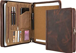 Handmade Vintage Leather Padfolio Portfolio Case Zippered Business Organizer Tablet Folio Folder with Letter Size Notepad, Crazy Horse Leather, Gift for Women & Men (Non-Custom, Brown)
