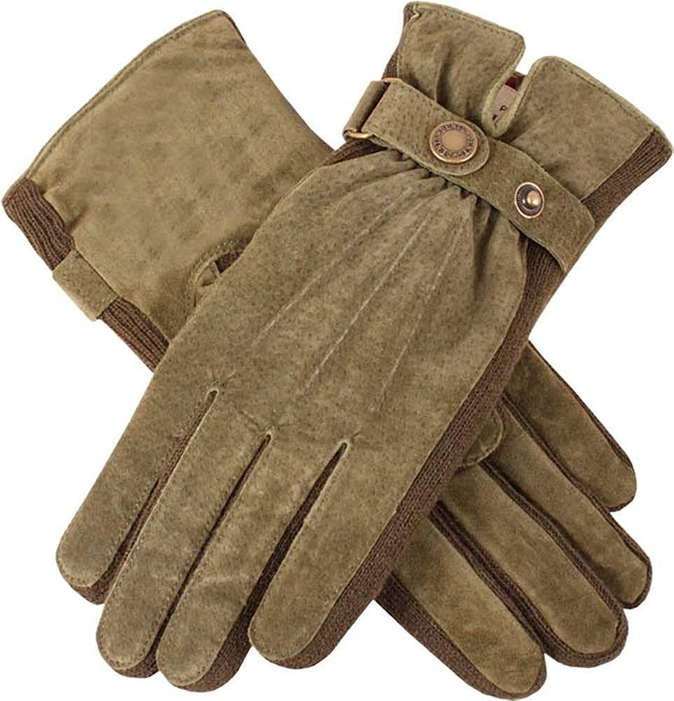 Dents Womens Laura Strap Detail Suede Gloves - Sage Green