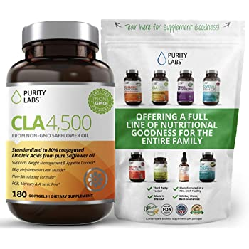 Purity Labs CLA 4,500MG Safflower Oil Number One Weight Loss Fat Burner Supplement 180 Softgels Non-GMO & Gluten Free Conjugated Linoleic Acid Pills Belly Fat Burner