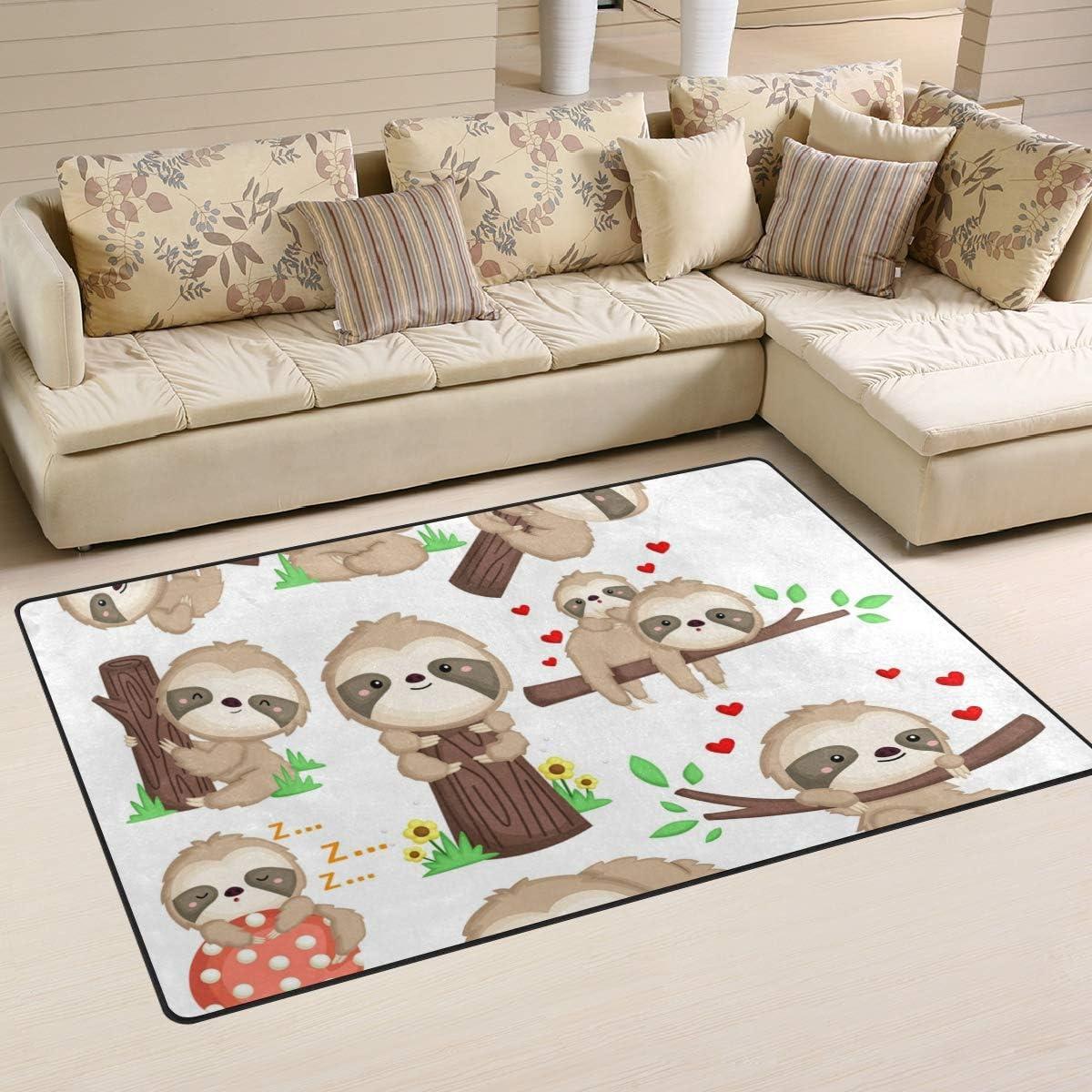 Modern Area Rugs 3x5 Washable - Nursery Cute Aera 新作販売 Rug Soft Sloth 買い物