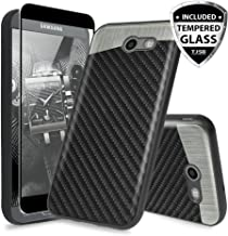 TJS Case for Samsung Galaxy J3 Emerge/J3 Prime/Amp Prime 2/Express Prime 2/Sol 2/J3 Mission/J3 Luna Pro/J3 Eclipse, with [Tempered Glass Screen Protector] Built-in Metal Plate Back Phone Cover (Black)