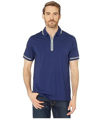 BUGATCHI Gastone Short Sleeve Knit 1/2 Zip Polo (New Navy) Men