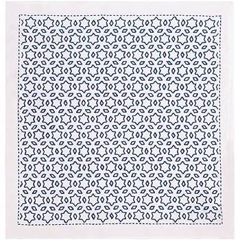 オリムパス製絲 刺し子キット 一目刺しの花ふきん 星と三つ菱 紺 SK304