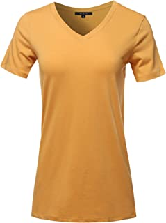 dc8315f9329c5 Women s Basic Solid Premium Cotton Short Sleeve V-Neck T Shirt Tee Tops (S