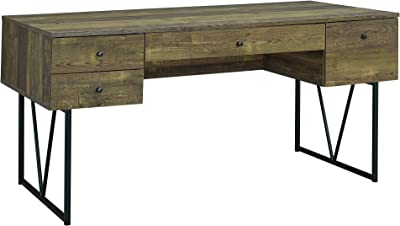 Coaster Analiese Writing Desk in Rustic Oak and Black