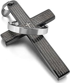 MunkiMix Acciaio Inossidabile Pendente Ciondolo Collana Croce Bibbia Signore Preghiera Anello Anelli Uomo,Catenina Lunga 5...