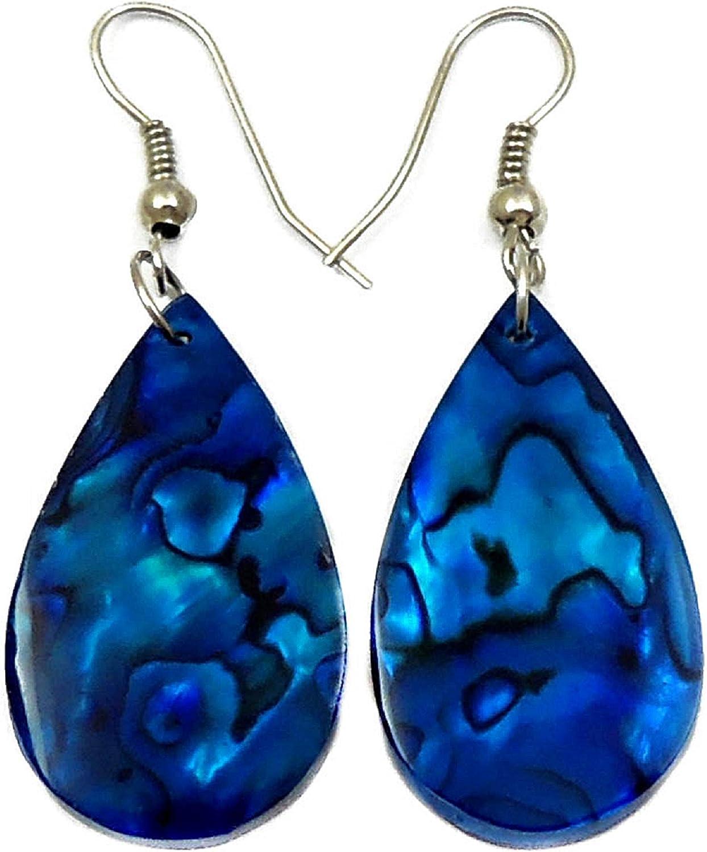 Blue Abalone Earrings Teardrop Dangle Drop Hook Natural Shell Handmade Jewelry GA249-A