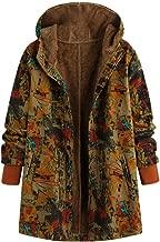 Mayunn Women Winter Warm Vintage Floral Printed Thicker Zipper Hooded Pockets Plus Size Coat Outwear (S-5XL)