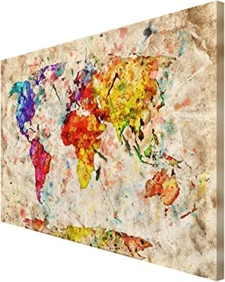 999Store wooden wall painting wall paintings world map wall decor wooden world map wall decor Multi Color World Map wall painting ( Canvas 24X36 Stretched) FLP24360180