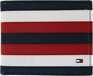 Men's Carmine Leather Red White and Blue Passcase Bifold Wallet