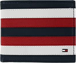 Tommy Hilfiger Men's Carmine Leather Red White and Blue Passcase Bifold Wallet