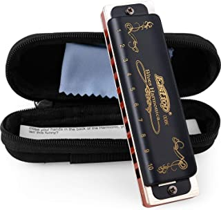 Harmonica Diatonic Key of C 10 Hole 20 Tone Top Grade Professional Blues Harmonica with Case for Professional Player Beginner Students Children Kids Gift(East Top)- Black