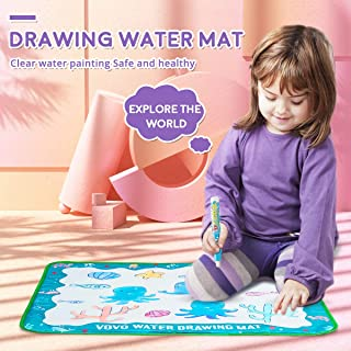 Vovo Drawing Water Mat – Toddler Painting Set – Watercolor Doodle Mat for Kids – Large 30.3 x 30.3-inch Drawing Art Set – Mess-Free & Easy to Use – Painting Board + 2 Water Pens, Brush, Stencil