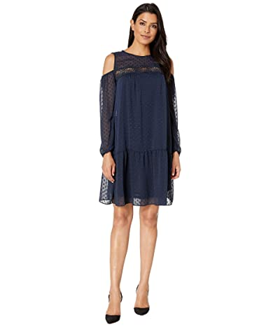 American Rose Tai Cold Shoulder Ruffle Dress (Navy) Women