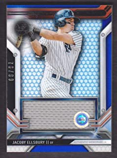 2016 Topps Strata Baseball Clearly Authentic Relics Blue #CAR-JE Jacoby Ellsbury Jersey 76/99 New York Yankees