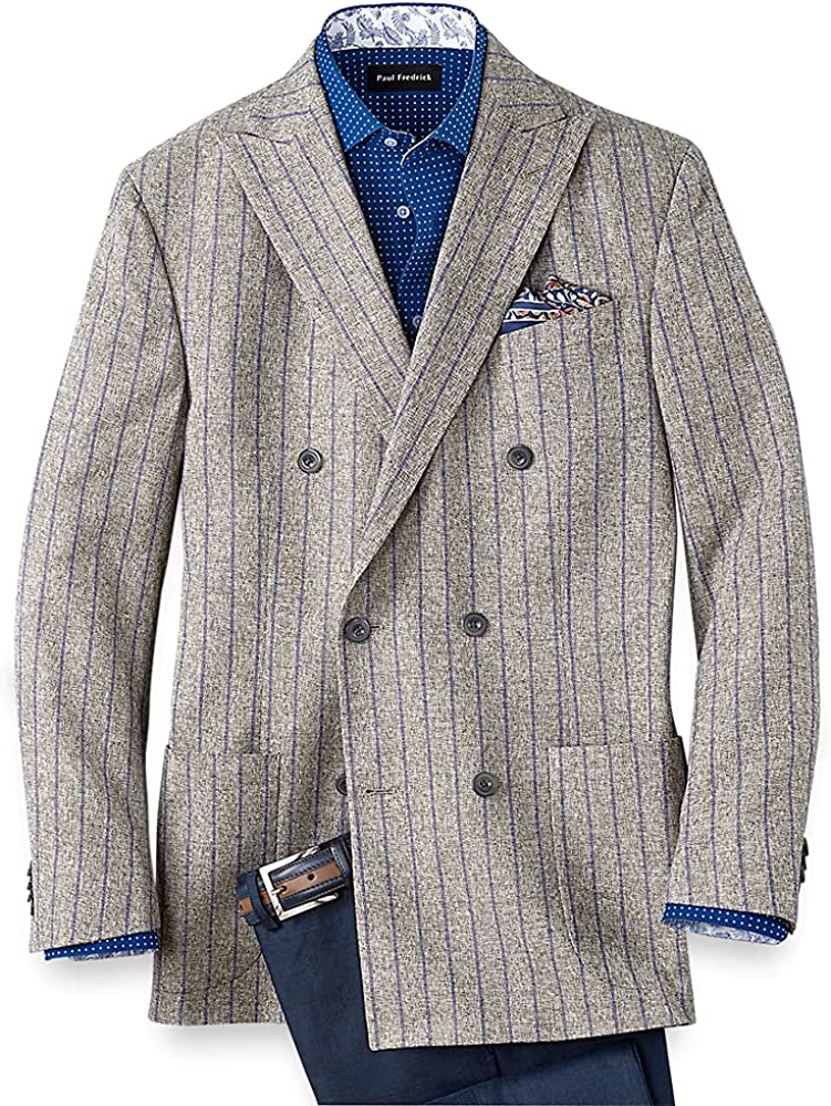 Paul Fredrick Men's Linen and Cotton Striped Double Breasted Sport Coat