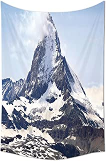 Farmhouse Decor Tapestry Matterhorn Summit with Cloud Mountain Scenery Glacier Natural Beauty Wall Hanging for Bedroom Liv...